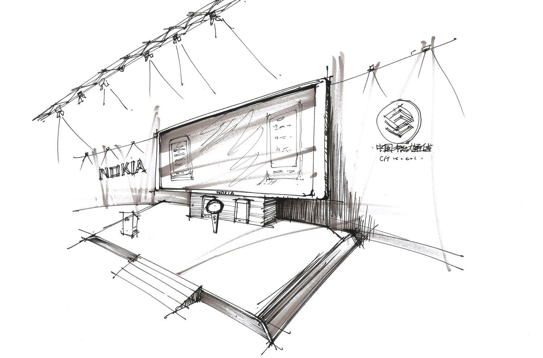 展台平面手绘图线稿