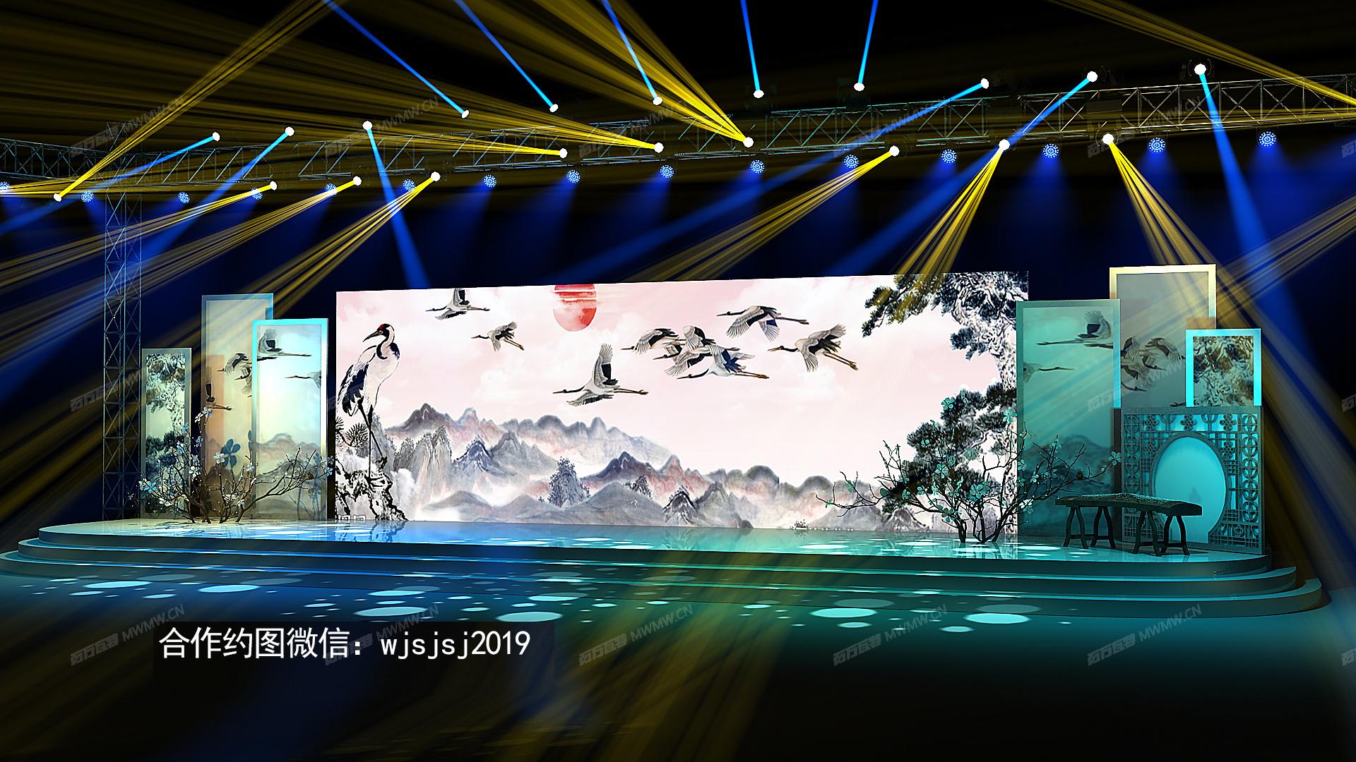 麦田舞美设计 舞美咖 中式舞美设计 中式舞台设计 中式效果图 中式设计图 中国风舞台 中国风舞美 寿宴舞美设 ...