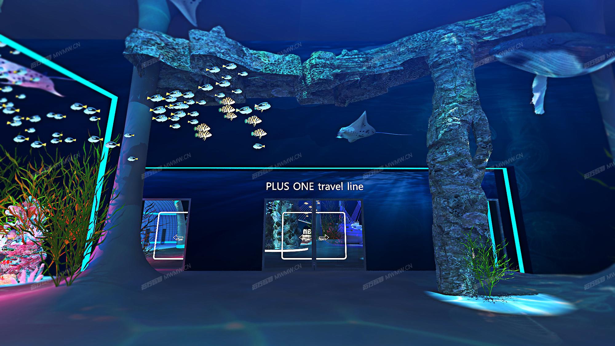 将整场打造成海底世界,我们⼀起继续探索新的领域,迎接新的未来。
