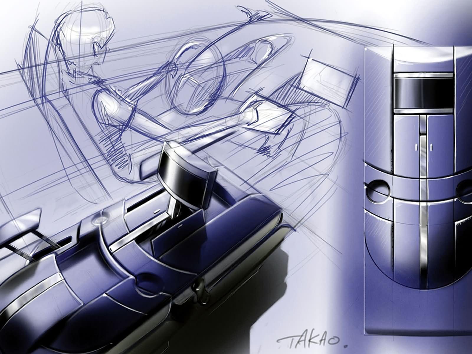 手绘汽车展示空间