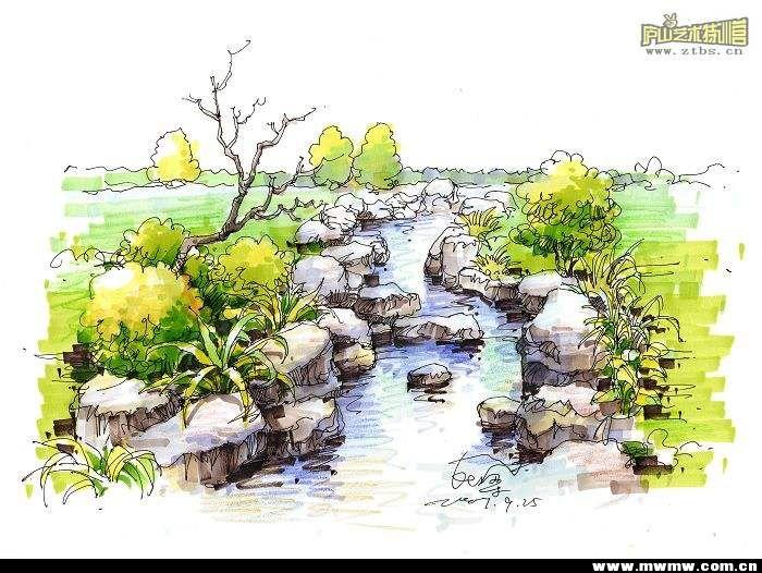园林假山手绘水彩
