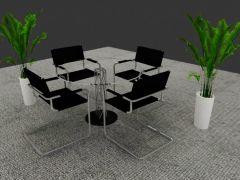 常用桌椅绿植 面少文件小 支持模型板块!