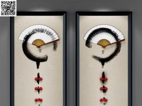 中式扇子装饰挂画组合3D模型